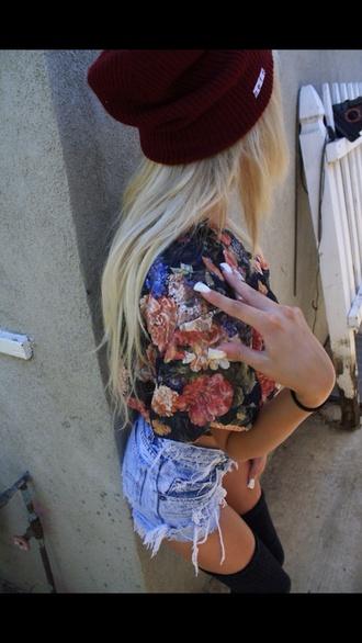hat beanie flowers crop tops blue jean shorts knee high socks blonde hair blouse shirt shorts underwear