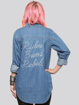 shirt embroidered slogan t-shirts embellished denim denim shirt quote on it pink hair back to school