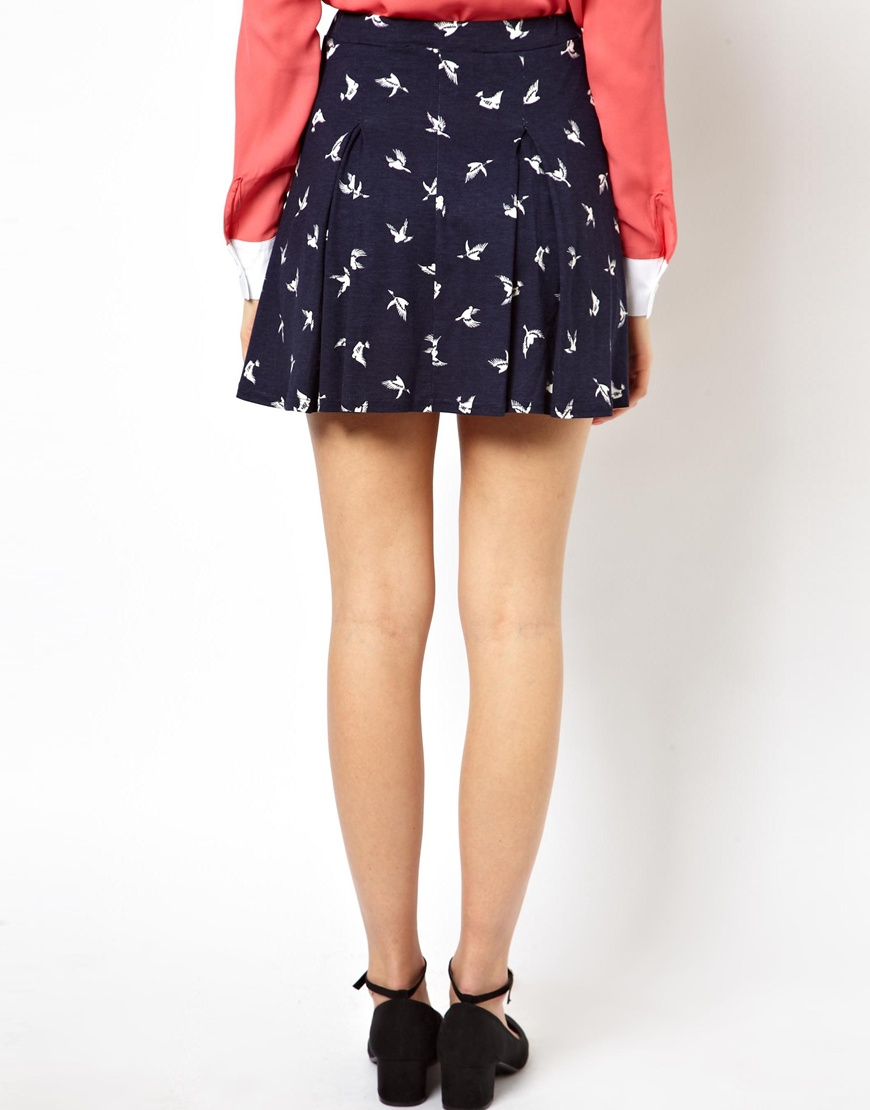 ASOS Skater Skirt in Bird Print at asos.com