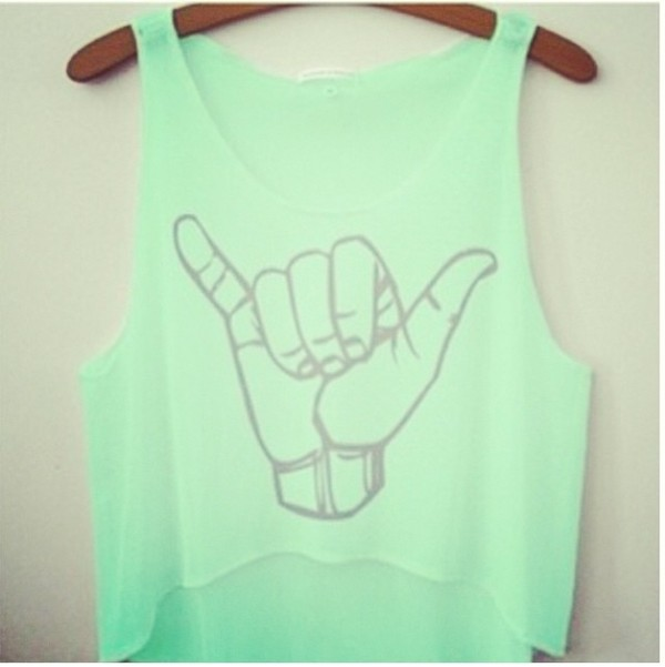 tank top mint hang loose