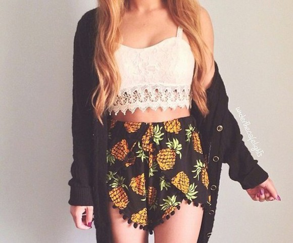 boho shorts pom pom shorts festival pineapple print high waisted blogger shorts beyoncé cute dress gypsy one