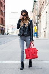 maria vizuete,mia mia mine,blogger,bag,sunglasses,leather jacket,black top,grey jeans,black boots,red bag,celine bag