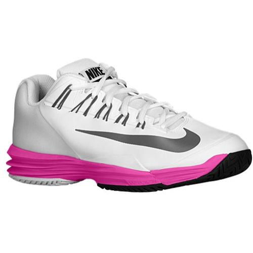 Nike Lunar Ballistec - Women's - Tennis - Shoes - White/Red Violet/Metallic Silver