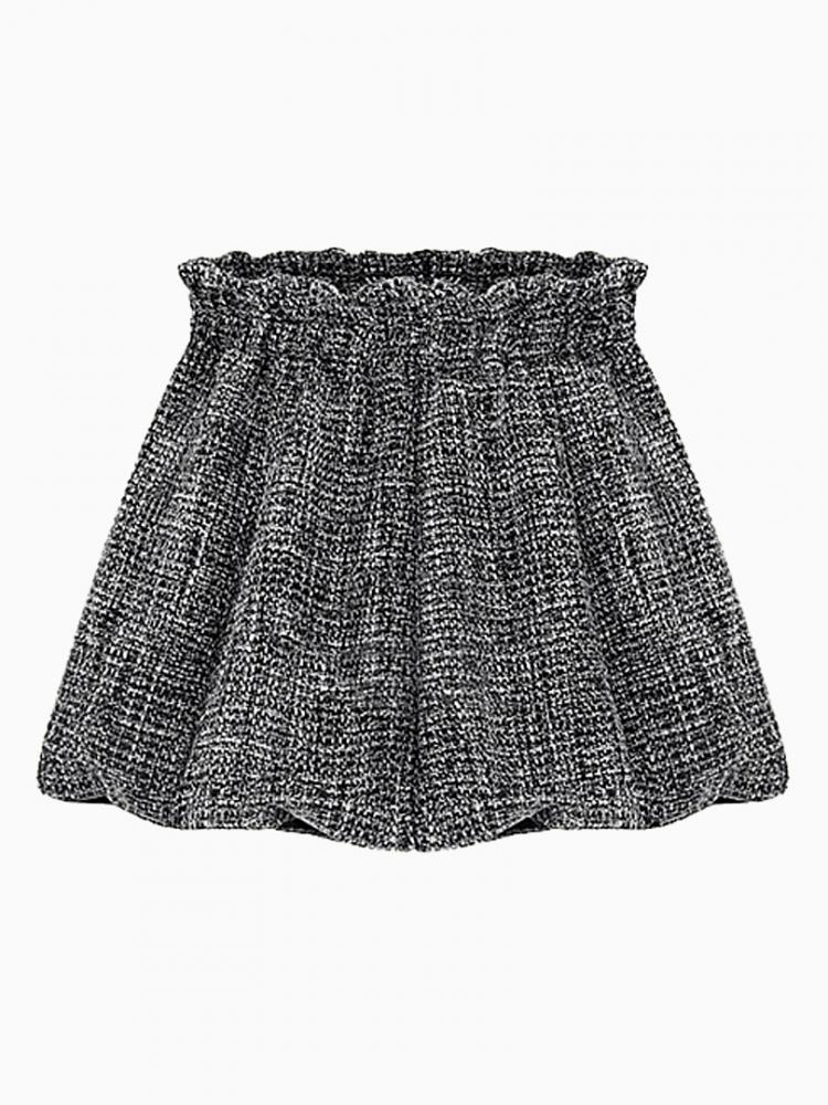 Gray High Waist Pouf Mini Skirt with Metallic String Added | Choies