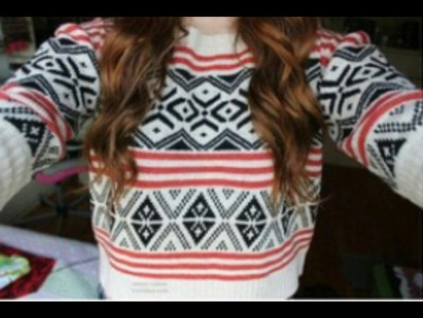 sweater red blue white winter outfits cozy long sleeves
