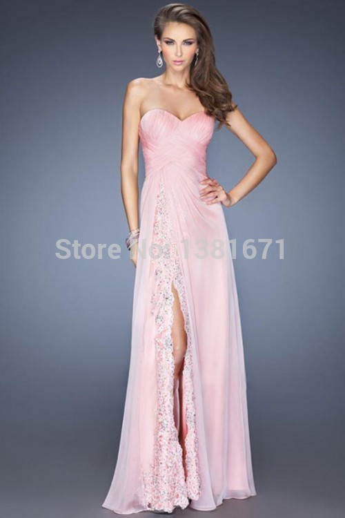 Aliexpress.com : Buy Free Shipping Design Lace Sexy Slit Strapless Long A line Chiffon Evening Dress 2014 from Reliable chiffon dresses under 100 suppliers on Aojia Top Evening Dress