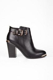 shoes,boots,black,leather,gold buckle,gold,zip