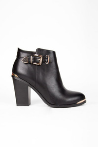 shoes boots black leather gold buckle gold zip