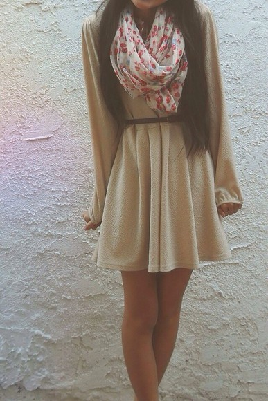 dress cream dress tumblr scarf, chic, cute, scarf
