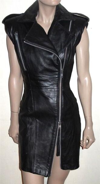 dress leather black dress zipper dress rock badass leather dress leather biker dress