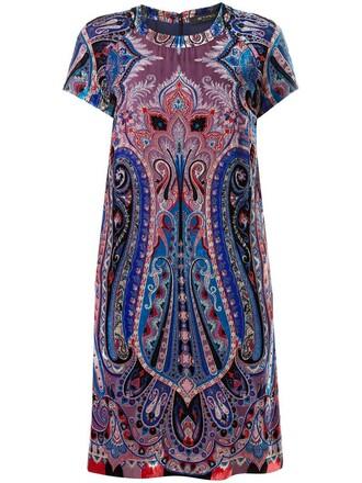 dress print dress women print blue silk