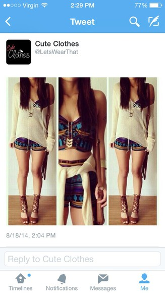 blouse aztec shorts crop tops shirt
