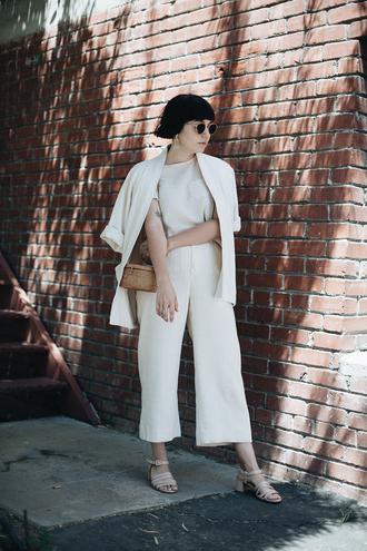 calivintage blogger top pants sunglasses jewels coat bag