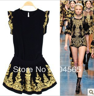 2 pieces Drop Shipping Vintage Pleuche Embroidery Dress Sets Tops Skirts For Women Fashion Clothing Suits 4 Colors-in Dresses from Apparel & Accessories on Aliexpress.com