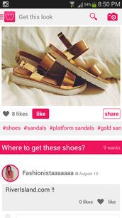 shoes,platform sandals,metallic gold