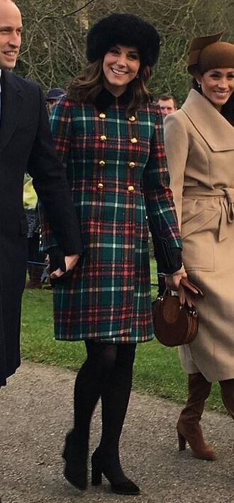 coat kate middleton plaid winter outfits hat