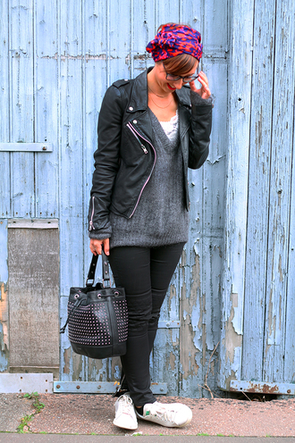 jacket perfecto jeans blogger les noeuds de justine knitwear