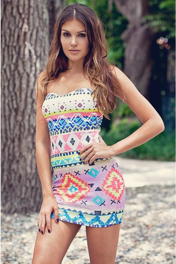 White Strapless Dress - Aztec Print Strapless Bodycon Dress | UsTrendy