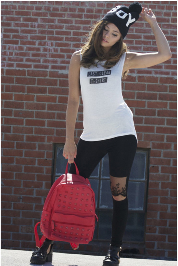 top lastcleantshirt tank top beanie leggings backpack studded muscle tee hipster girl girly jeans