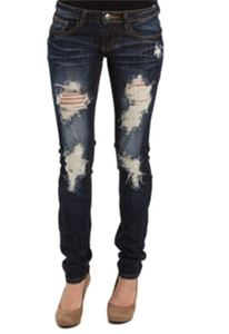 Machine Skinny Jeans Destructed Dark Wash DMP-9715