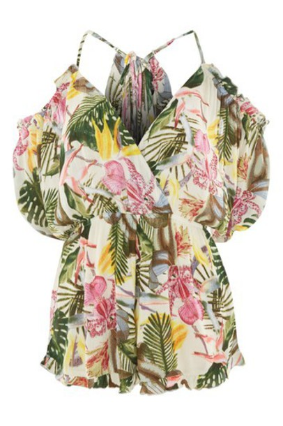 tropical print monochrome romper