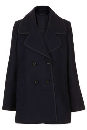 Wide Collar Pea Coat - Jackets & Coats  - Clothing  - Topshop