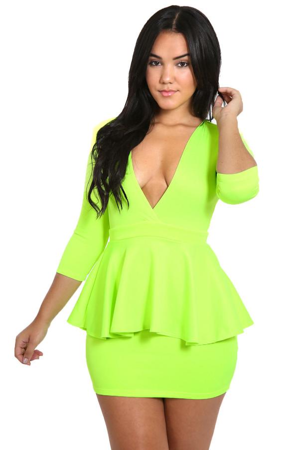 stoneysboutique dress clothes clubwear neon peplum peplum dress