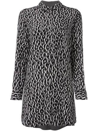 tunic women print black silk leopard print top