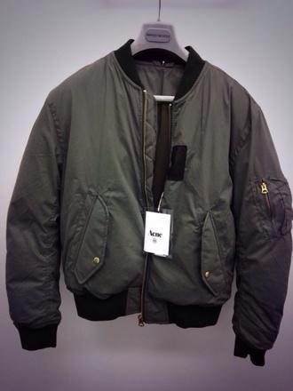 coat acne studios bomber jacket jacket dark green khaki style