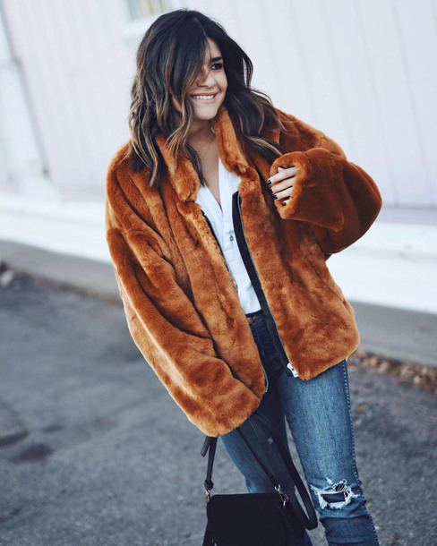 jacket tumblr fur jacket faux fur jacket camel camel jacket cozy denim jeans blue jeans
