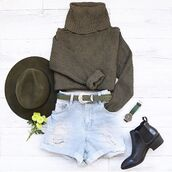 top,outfithuas,cute,khaki,boots,hat,belt,jumper,style,outfit,tumblr,tumblr girl,girly,girl,instagram,pretty,boho,boho chic,chic,winter outfits,fall outfits,olive green,shorts,watch,shoes