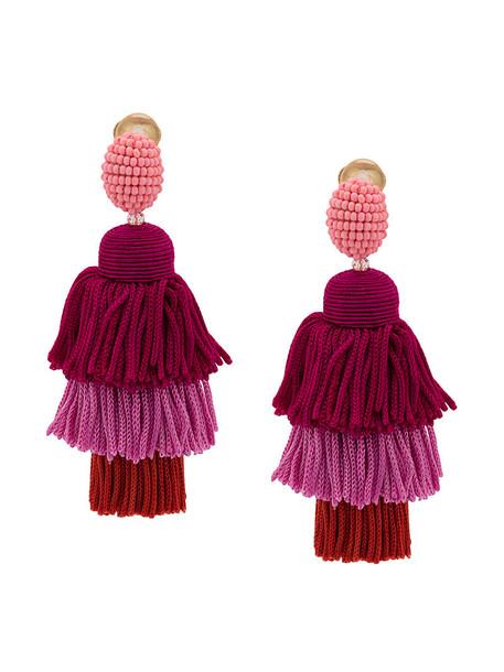 long women earrings silk purple pink jewels