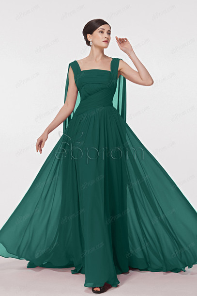 dress, forest green, watteau train, long prom dress, prom dress ...