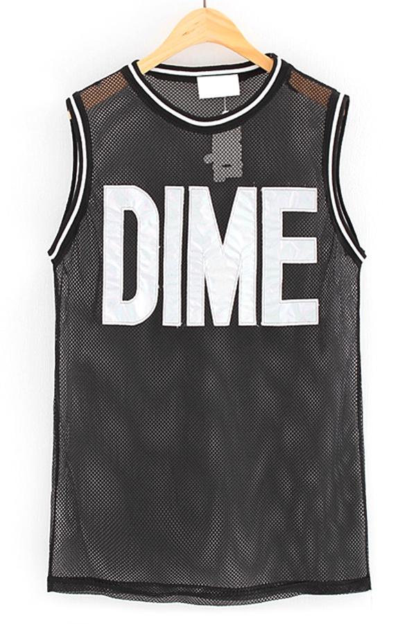 Dime mesh oversized sleeveless tee