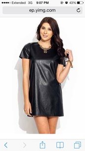 dress,shift dress,leather,black