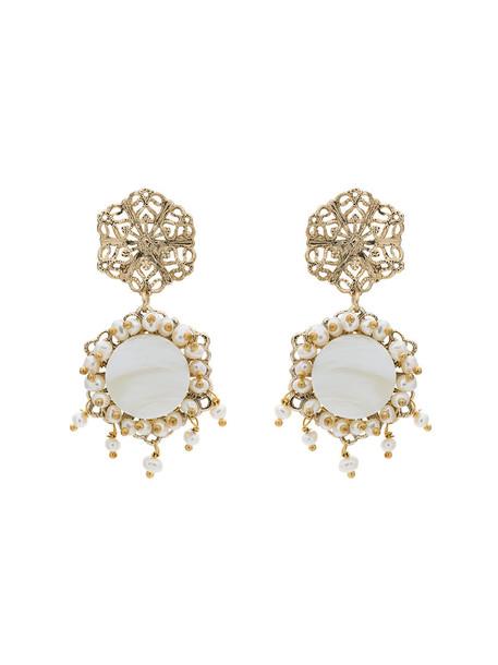Rosantica metal women pearl earrings grey metallic jewels