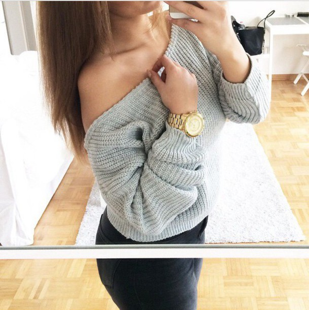 sweater grey sweater grey gold watch fashion jeans black jeans black and white cotton basic comfy warm winter sweater winter outfits fall sweater fall outfits fall outfits off the shoulder sweater jewels