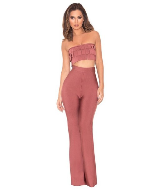 jumpsuit two-piece pink ruffle sexy cute cute outfits fashion style