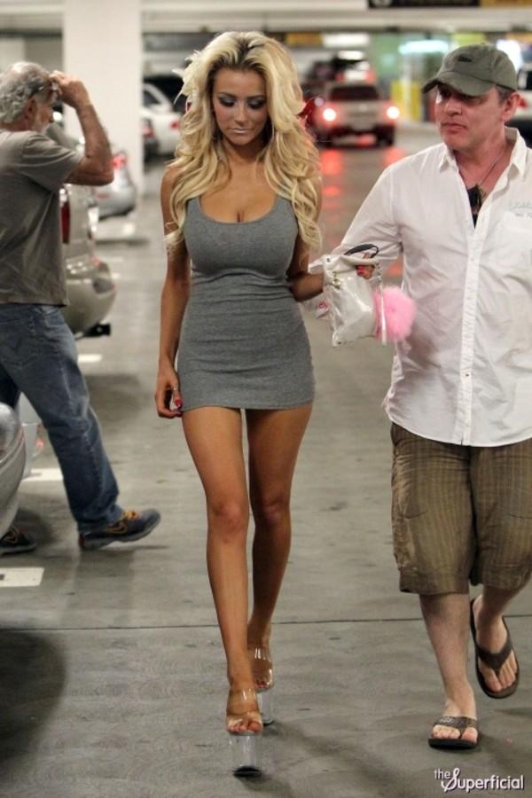 grey grey dress short dress bodycon dress form fitting dress courtneystodden blonde hair skinny high heels