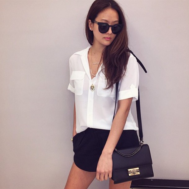 blouse white blouse button up blouse shorts black shorts bag crossbody bag