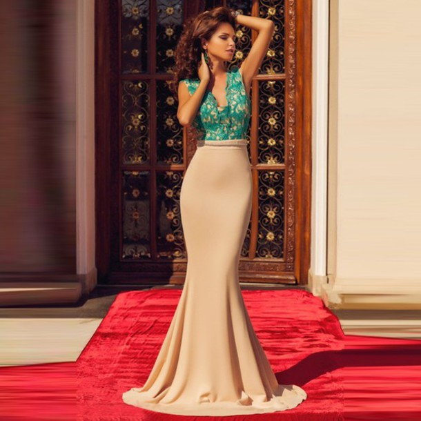 Dress: mermaid prom dress- sexy mermaid evening dresses- lace ...