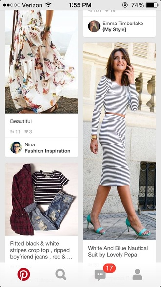 dress two-piece two piece dress set striped dress striped skirt striped shirt crop tops crop long sleeve crop top pencil skirt long skirt black and white outfit
