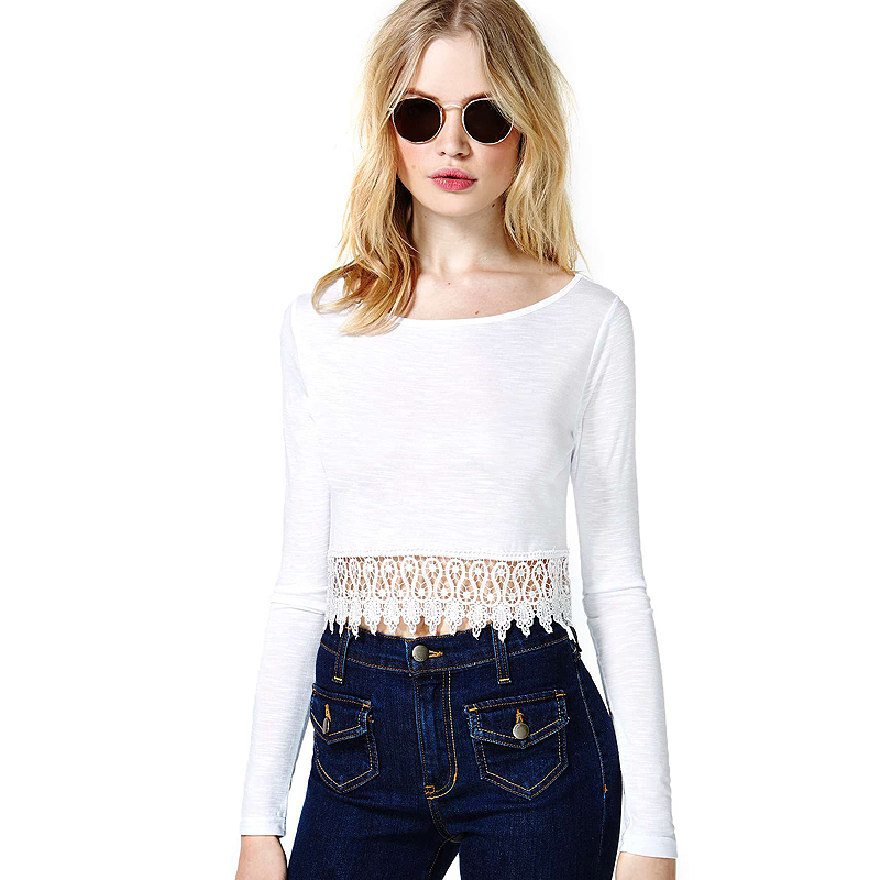 Aliexpress.com : Buy Street Fashion Brand Design UK White Patchwork Lace Decoration Bare Midriff Long Sleeve Round Neck Women Dance Short T shirt from Reliable women short sleeve t-shirt suppliers on Vogue Official Online Shop.