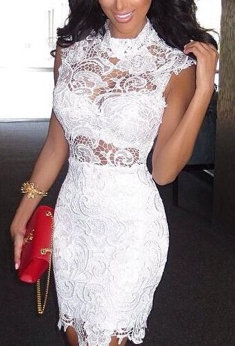 Lace Sleeveless Bandage Dress