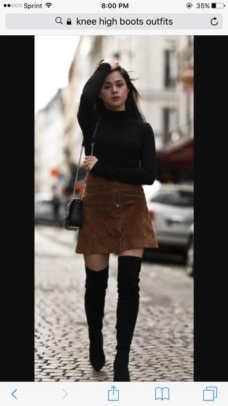 skirt brown skirt shoes black knee boots