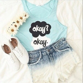 shirt blue shirt okay? okay. okay okay okay the fault in our stars blue blue tumblr tumblr outfit outfit the fault in our stars found on tumblr