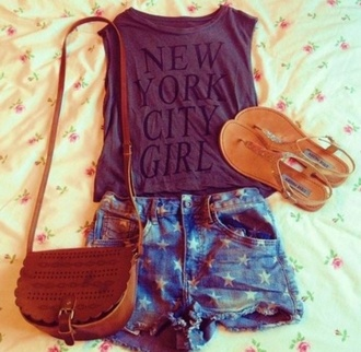 t-shirt new york city grey shorts denim stars bag camel camel bag leather leather bag shoes sandals gold summer outfits summer shoes clothes hipster quote on it shirt