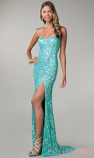 Prom Dresses, Celebrity Dresses, Sexy Evening Gowns - PromGirl: Floor Length Strapless Sweetheart Sequin Dress