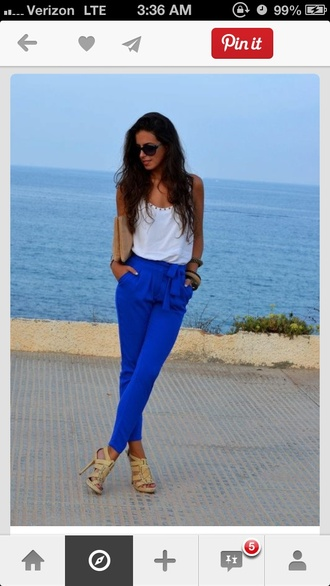 pants high waisted pants cobalt blue royal blue bow side ties jcrew blue pants
