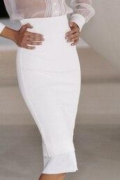 skirt,blouse,white,sheer blouse,top,white pencil skirt